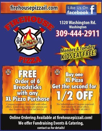 Firehouse Pizza coupons located in Washington, IL