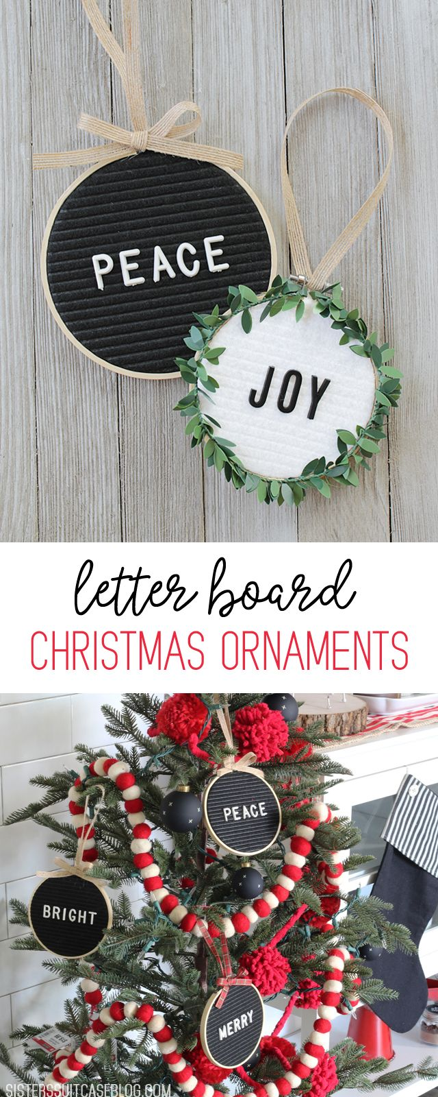 DIY Letter Board Christmas Ornaments - full tutorial and supply list!