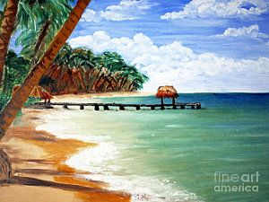 Tobago Painting - Pigeon Point by Denise Shaw