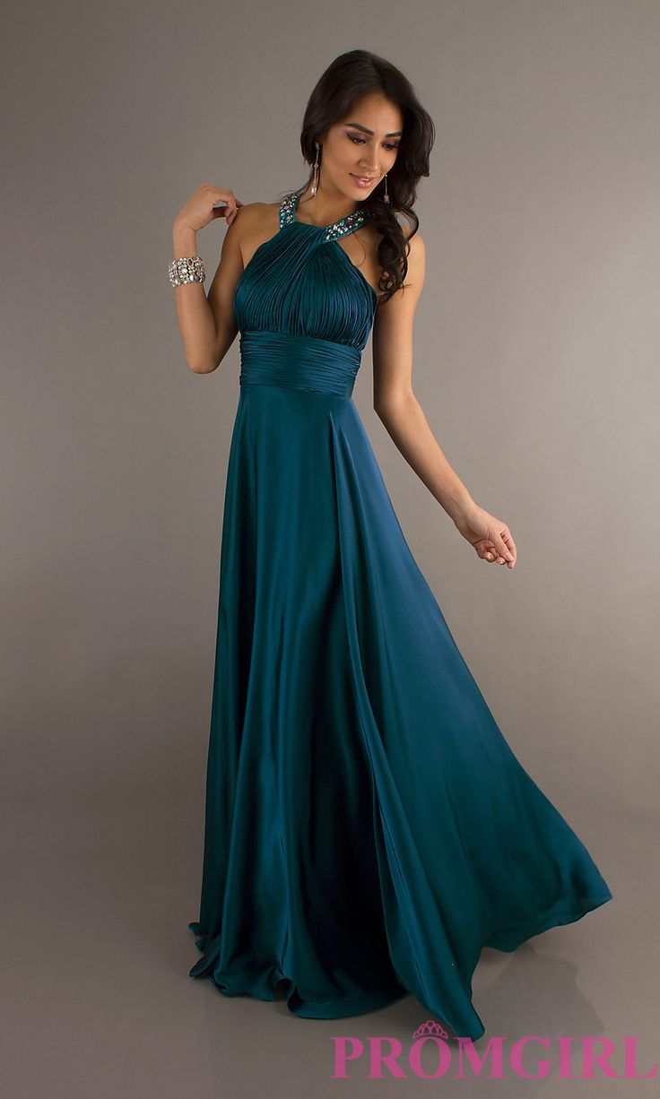 High Neck Long Halter Dress, Halter Gowns - quite a few color selections to choose from. Nice jewel colors. Good price. I like how the halter top wraps around the neck.