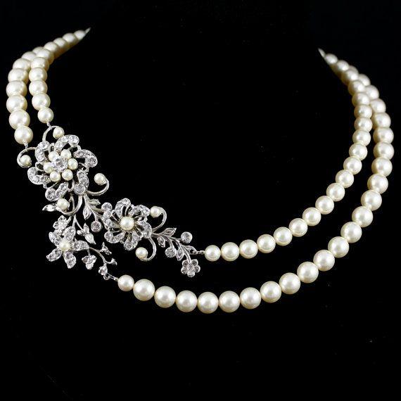 Statement Wedding Necklace Swarovski Crystal Pearl Bridal Necklace Flower Necklace Wedding jewelry SABINE GRAND NECKLET