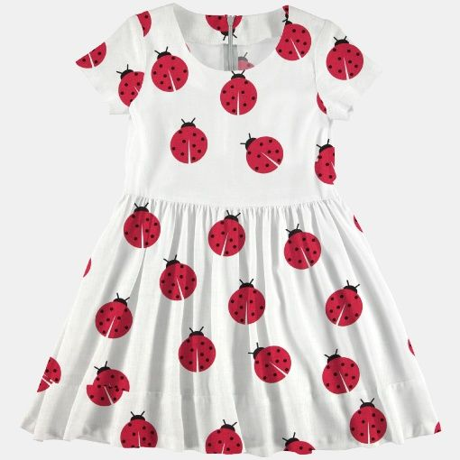 Cotton white w ladybirds - Stoff & Stil