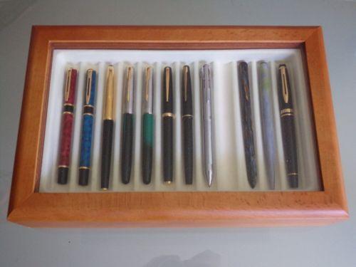 Boite-vitrine-VISCONTI-Italy-en-hetre-pour-24-stylos-plume-roller-bille-RARE