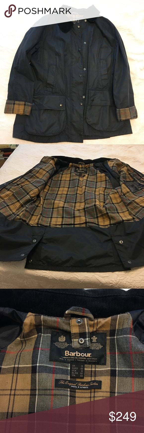 Barbour Ladies Beadnell Waxed Jacket - Navy Authentic Ladies waxed jacket by Barbour. Barely worn. Slight pulling on fabric interior. US size 10 Barbour Jackets & Coats Utility Jackets