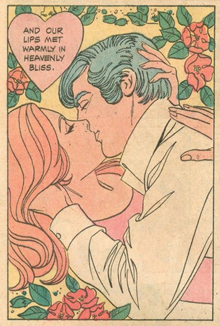 "Comic Girls Say .. "" and our lips met warmly in heavenly bliss "". #comic #vintage"