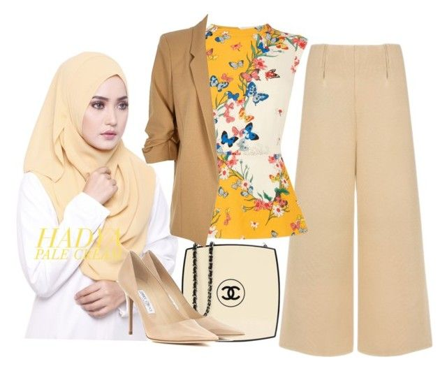 """Hadya - Pale Cream"" by ctnurazreen-1 on Polyvore featuring Chanel, C/MEO COLLECTIVE, Oasis, River Island and Jimmy Choo"
