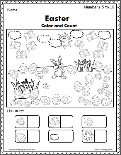 Color and count the springtime and Easter pictures. Write the correct number of each object.