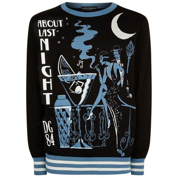 Dolce & Gabbana Jazz Club Sweatshirt ($1,245) ❤ liked on Polyvore featuring men's fashion, men's clothing, men's hoodies, men's sweatshirts, mens crew neck sweatshirts and mens crewneck sweatshirts