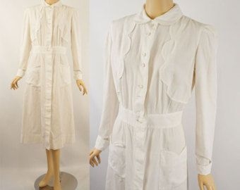 1940s military nurse dress nurses uniform dress white by edgertor