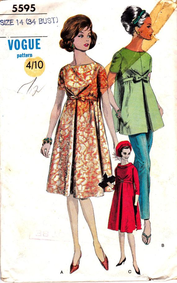maternity - 60s Vintage Sewing Pattern Vogue 5595 by allthepreciousthings, $18.00