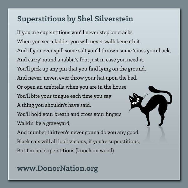 superstitious by shel silverstein if you are superstitious youll never step on cracks halloween poemshappy - Good Halloween Poems