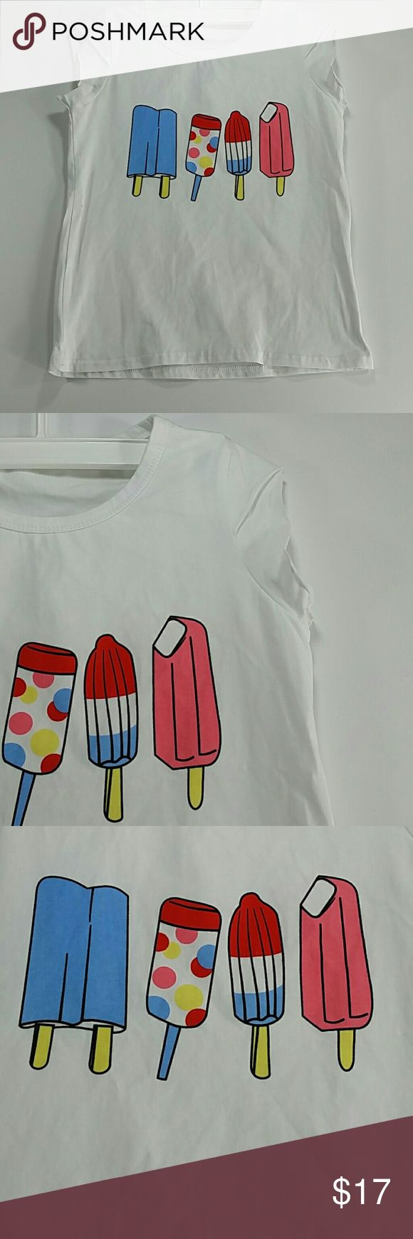 White Ice cream Tee shirt. Kid Adorable white tee shirt with a cute ice cream design.  This item is brand new and never used. No tags. Shirts & Tops Tees - Short Sleeve