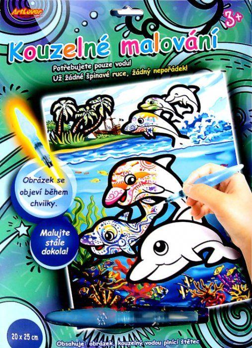 Výtvarné sady | Kouzelné malování - ŠTĚTCEM NAPLNĚNÝM VODOU delfíni | AMATA - hračky a výtvarné potřeby
