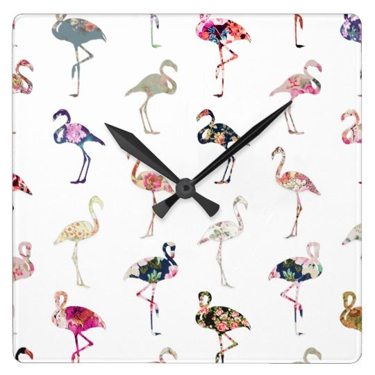 Girly Whimsical Retro Floral Flamingos Pattern Square Wall Clock