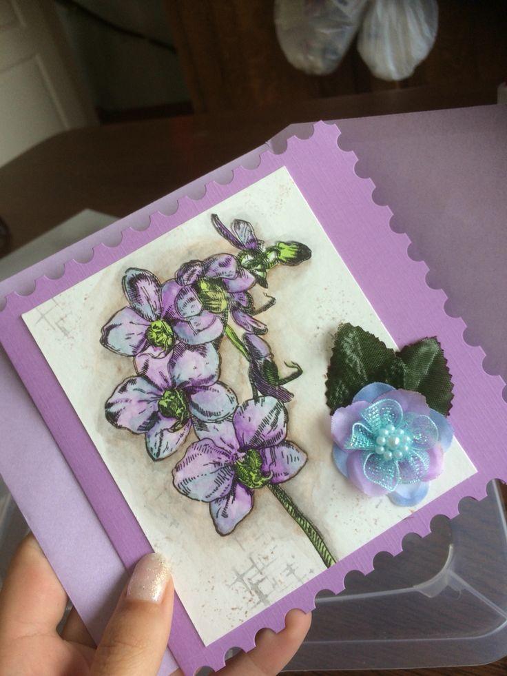 gansai tambi kuretake orchid card purple