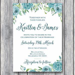 Teal Floral Personalized Elegant Wedding Invitations #babyshowerideas4u #birthdayparty  #babyshowerdecorations  #bridalshower  #bridalshowerideas #babyshowergames #bridalshowergame  #bridalshowerfavors  #bridalshowercakes  #babyshowerfavors  #babyshowercakes