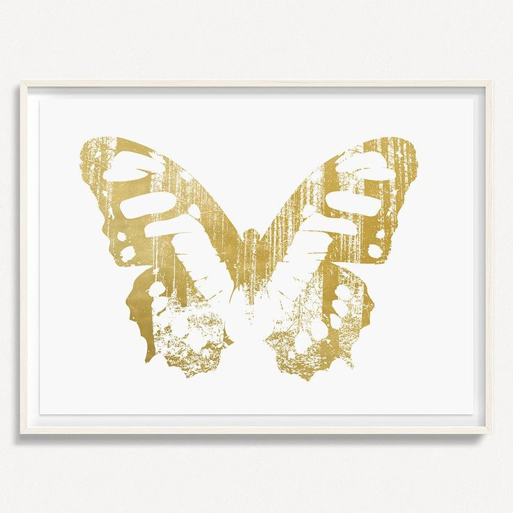 """Butterfly with Forest Wings 1 - Gold - 36"""" H x 48"""" W Floated and Dry Mounted - Gold Leaf Foil on Fine Art Paper  White Wash - Wood Ash Frame #artsquaredinc #art #design #gold #goldleaf #artandnature #ButterflyForest #butterflyart"""