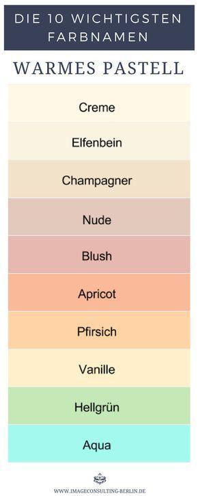 Warme Pastellfarben sind Creme, Elfenbein, Champagner, Nude, Blush, Apricot, Pfirsich, Vanille, Hellgrün und Aqua