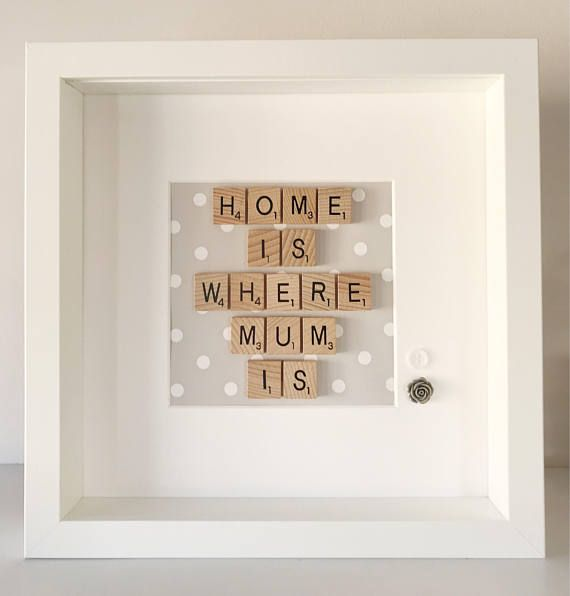 Gorgeous Personalised Home Is where Mum is Frame with Scrabble letters. All frames measure 23cm x 23cm and come beautifully gift wrapped. This is a one off and is ready to ship in 1-2 days. Thank you for looking - Florence & Bow