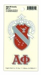 """Alpha Phi sorority Crest Decals .  They are for opaque surfaces or the outside of windows.  Decal measures approx. 3"""" and comes with an additional decal with just your greek letters."""