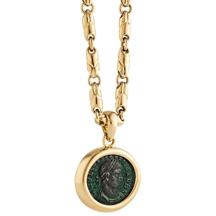Bulgari Ancient Roman Coin Gold Pendant Necklace   From a unique collection of vintage drop necklaces at https://www.1stdibs.com/jewelry/necklaces/drop-necklaces/
