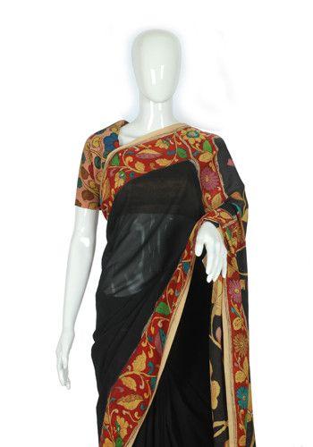 Crepe Pen Kalamkari Saree – Desically Ethnic