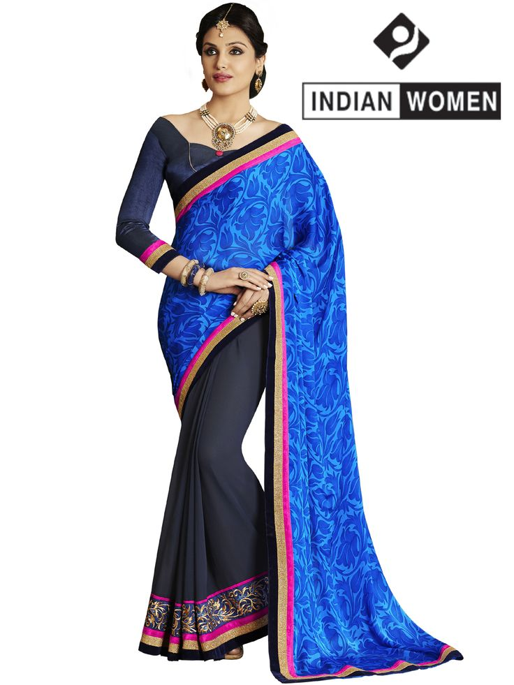 #Bright Blue!!  #Blue And #Violet  Satin And Georgette Saree designed with Resham Embroidery. As shown Violet Raw Silk Blouse fabric is available.  INR 1255.00 Only  Shop @ http://goo.gl/ijOk2W
