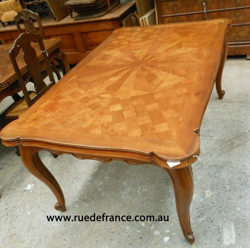 Antique French Cherry Wood Draw Leaf Extension Table With Parquetry Top