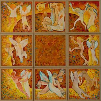 Miro Radev, olej na plátne, Kvadratúra kruhu, (zostava 9 menších obrazov), na vyžiadanie