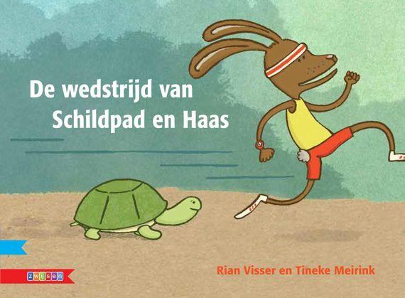 De wedstrijd van Schildpad en Haas Rian Visser Zwijsen prentenboek kleuters kinderboekenweek 2013 sport en spel klaar voor de start 570