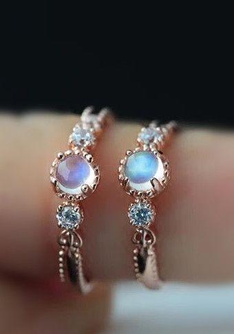fancy rose gold blue moonstone tiny promise ring