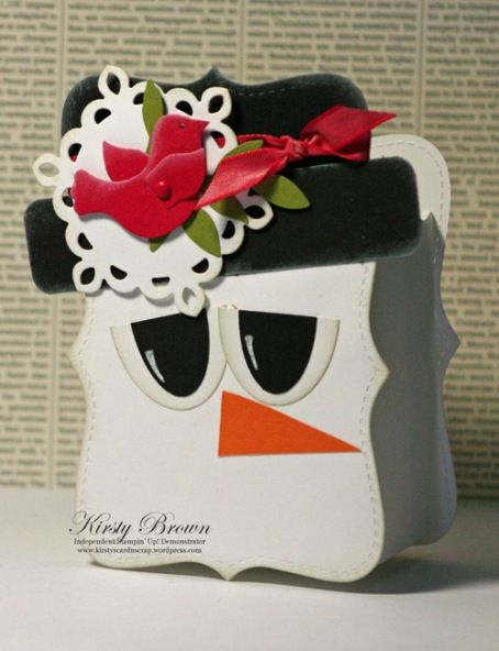 snowman Treat Box Would make a cute front to a card too!