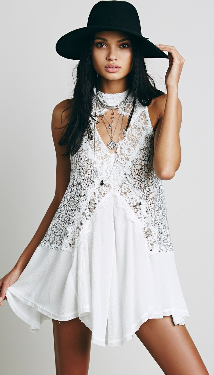 Free People Cross My Heart in Lace Tunic