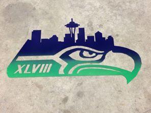 Seattle Skyline, Super bowl, XLVIII, Seattle, Seahawks, Seahawks logo, Metal 12th man sign, 12th man city skyline, 12th man skyline, football, seahawks, hawks, 12th fan