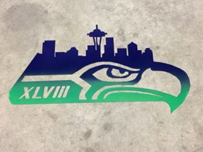 Seattle Skyline, Super bowl, XLVIII, Seattle, Seahawks, Seahawks logo, Metal 12th man sign, 12th man city skyline, 12th man skyline, football, seahawks, hawks, 12th fan
