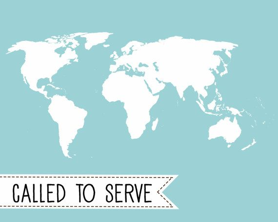 Blank - Called to Serve Missionary Map - Aqua - Instant download