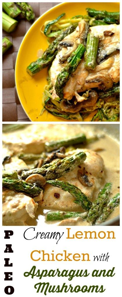 Creamy Lemon Chicken with Asparagus and Mushrooms - Wholesomelicious - This delicious creamy chicken recipe is dairy free, Paleo, and Whole30 compliant.