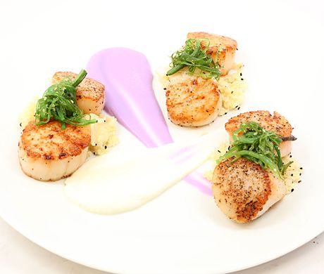 Sautéed Sea Scallops with Apple-Sesame Couscous and Purple and Yellow Cauliflower Purées