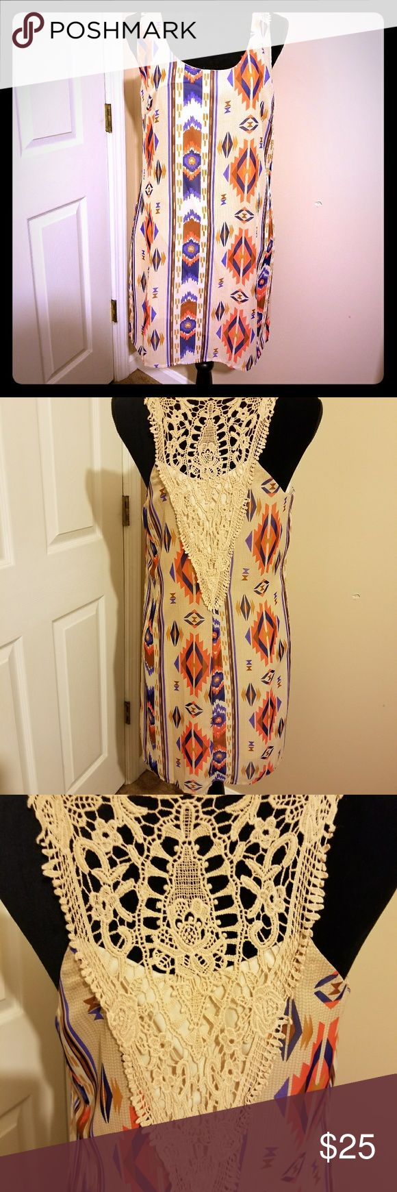 Aztec summer dress Aztec print, beautiful back, tan, brown, and a touch of blue. Pair it with some brown sandles Dresses Midi