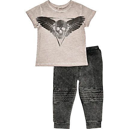 Mini boys grey skull t-shirt leggings outfit € 24,00
