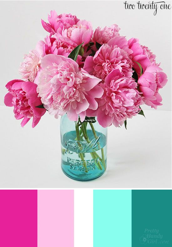 Complimentary Colors: One of my favorite color combinations are the gorgeous pinks in a bouquet of peonies paired with an aquamarine ball jar.