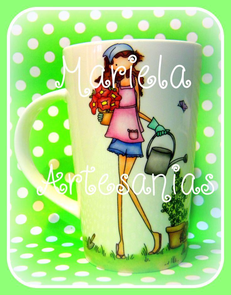"""taza pintada a mano """"nena jardinera"""""""