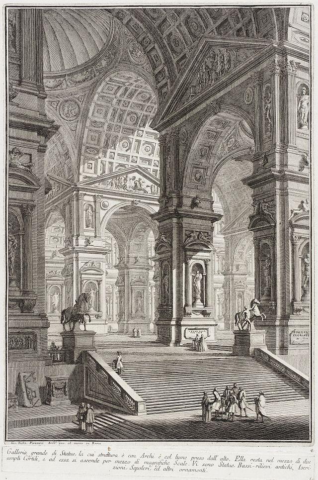 28- Giovanni Battista Piranesi - § G.B PIRANESI: Depuis 1748, il fait paraître en planches séparées sa suite la plus importante des Vedute di Roma. La date de la 1° édition des 14 planches de la suite des Prisons est incertaine, probablement vers 1745 et 1750. Ces planches impressionnantes ont dû être réalisées pendant son séjour à Venise ou peu de temps après: entre la Carcera oscura de 1743 et les Prisons, il a en tant que graveur acquis plus de maîtrise et plus d'inventivité.