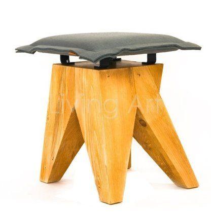 Stołek LOW drewniany, żółty