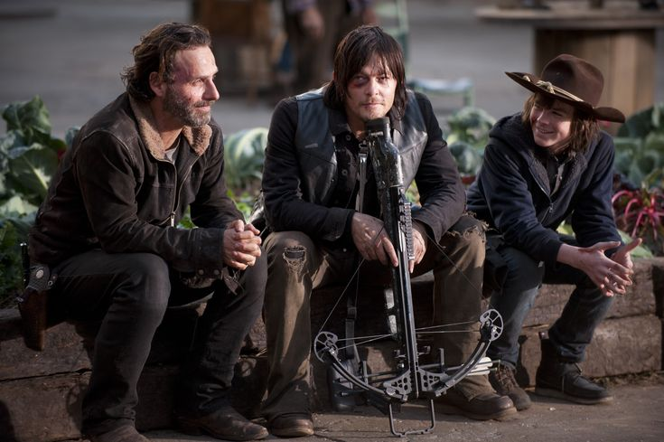 Andrew Lincoln, Norman Reedus, Chandler Rig (hate it that Carl had to lose an eye