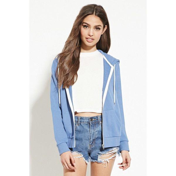 Forever 21 Plus Women's  Classic Zip-Up Hoodie (£8.98) ❤ liked on Polyvore featuring tops, hoodies, blue hoodie, lightweight zip up hoodie, zip up hoodies, long sleeve hoodie and sweatshirt hoodies