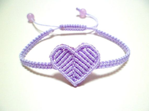 Laveder Purple Macrame Heart Square Knot Friendship Cord Bracelet