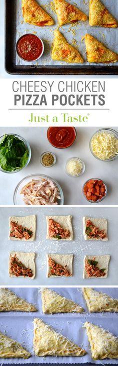 Cheesy Chicken Pizza Pockets recipe via justataste.com   A quick, easy and delicious dinner option!