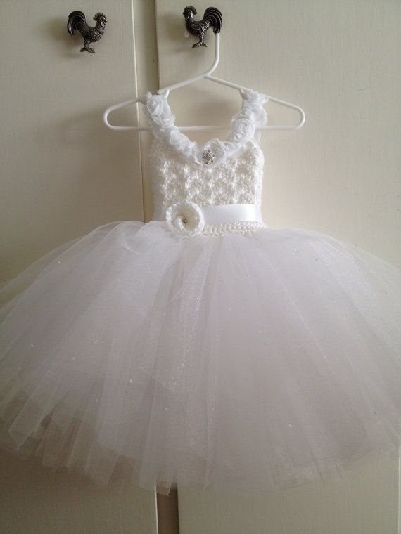 White flower girl tutu dress with corset style back por Qt2t