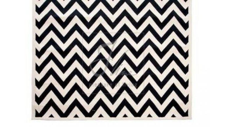 J-line Vloerkleed met grafische print zwart